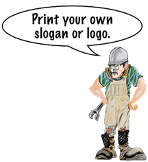 "Henry says, ""Print your own slogan or logo."""