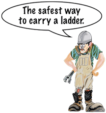 "Henry says, ""The safest way to carry a ladder!"""